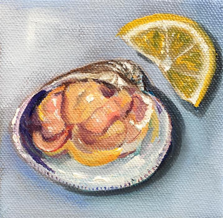 Original art for sale at UGallery.com | Clam with Lemon by Kristine Kainer | $75 | oil painting | 4' h x 4' w | ..\art\oil-painting-Clam-with-Lemon