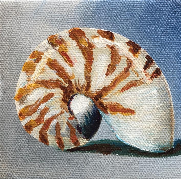 Original art for sale at UGallery.com | Nautilus Shell by KRISTINE KAINER | $75 |  | 4' h x 4' w | ..\art\oil-painting-Nautilus-Shell