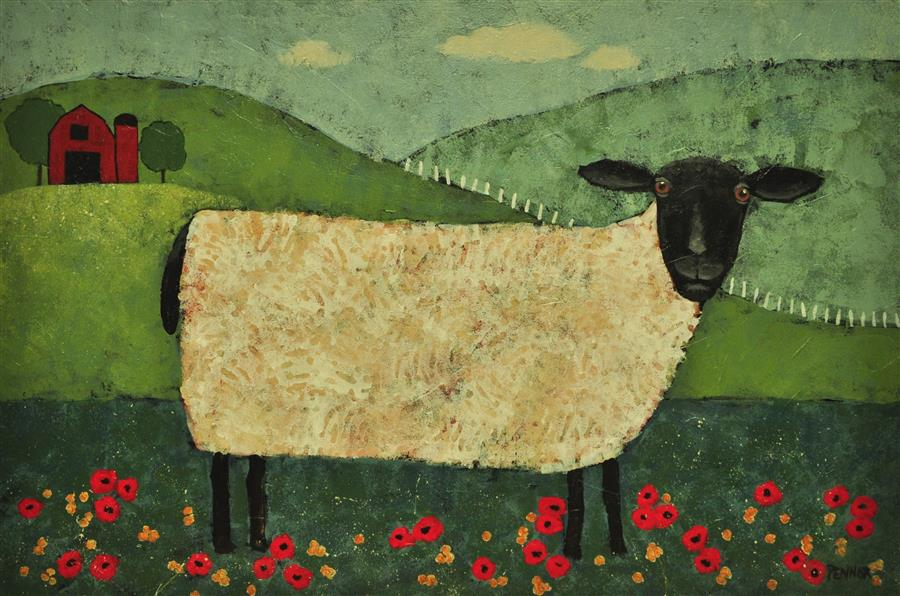 Original art for sale at UGallery.com | SheepBaa by Carolyn Pennor | $1,150 | acrylic painting | 24' h x 36' w | ..\art\acrylic-painting-SheepBaa