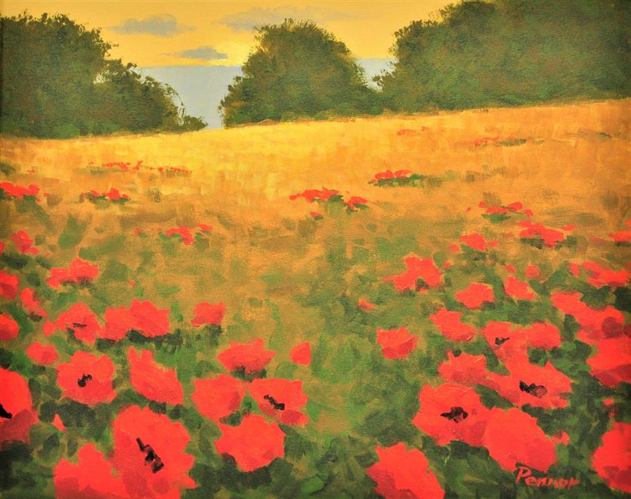 Original art for sale at UGallery.com | Hillside Poppies by Robert Pennor | $750 | acrylic painting | 16' h x 20' w | ..\art\acrylic-painting-Hillside-Poppies