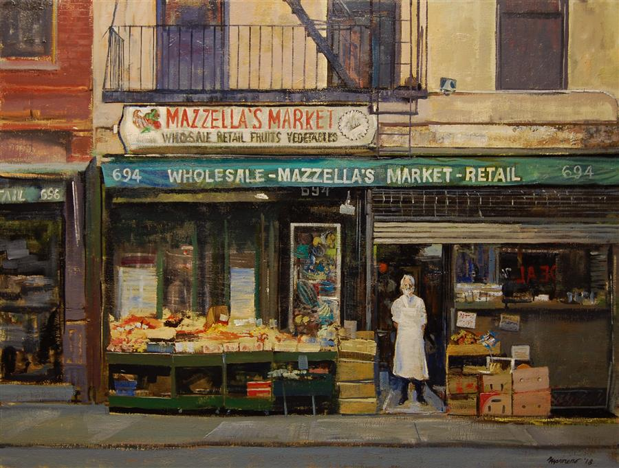 Original art for sale at UGallery.com | Mazzella's Market by ONELIO MARRERO | $1,675 |  | 24' h x 32' w | ..\art\oil-painting-Mazzella-s-Market