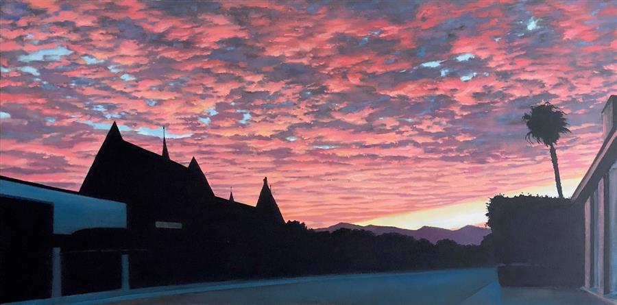Original art for sale at UGallery.com | Red Sky by Jesse Aldana | $2,125 | oil painting | 24' h x 48' w | ..\art\oil-painting-Red-Sky