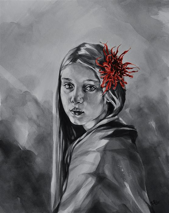 Original art for sale at UGallery.com | Girl With Chrysanthemum by SUZANNA ORLOVA | $925 |  | 20' h x 16' w | ..\art\watercolor-painting-Girl-With-Chrysanthemum