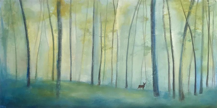 Original art for sale at UGallery.com | Forest Haze by DREW NOEL MARIN | $2,625 |  | 24' h x 48' w | ..\art\acrylic-painting-Forest-Haze