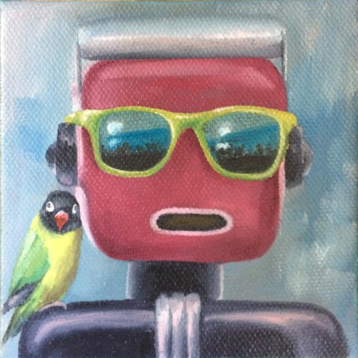 Original art for sale at UGallery.com | Chirp by Diane Flick | $75 | oil painting | 4' h x 4' w | ..\art\oil-painting-Chirp
