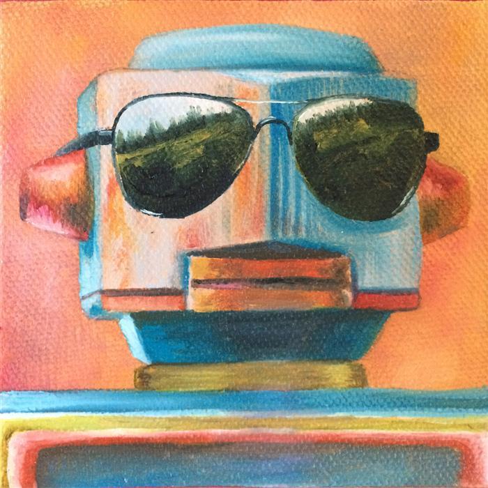 Original art for sale at UGallery.com | Maverick by Diane Flick | $75 | oil painting | 4' h x 4' w | ..\art\oil-painting-Maverick