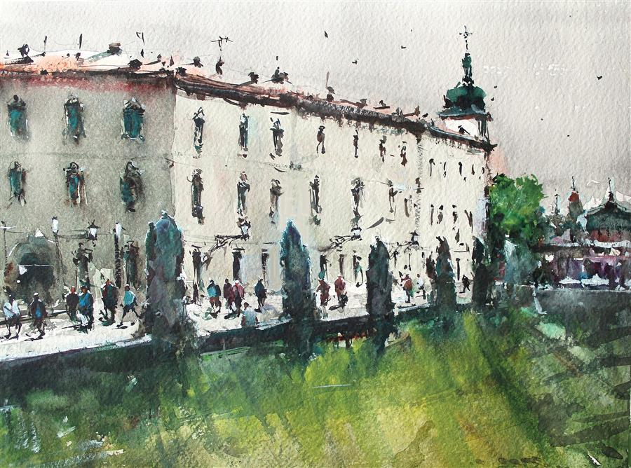 Original art for sale at UGallery.com | Italian Terrace by Maximilian Damico | $750 | watercolor painting | 11' h x 15' w | ..\art\watercolor-painting-Italian-Terrace