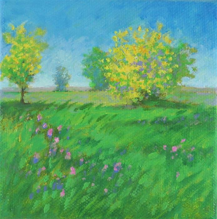 Original art for sale at UGallery.com | Forsythia Morning by Suzanne Massion | $75 | oil painting | 4' h x 4' w | ..\art\oil-painting-Forsythia-Morning