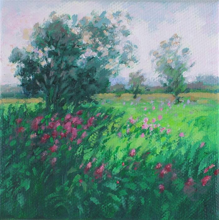 Original art for sale at UGallery.com | Prairie Reverie by Suzanne Massion | $75 | oil painting | 4' h x 4' w | ..\art\oil-painting-Prairie-Reverie