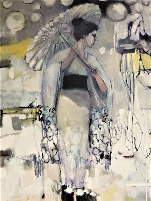 Original art for sale at UGallery.com | Geisha Atmosphere by Mary Pratt | $3,475 | oil painting | 48' h x 36' w | ..\art\oil-painting-Geisha-Atmosphere