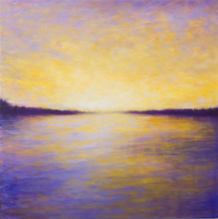Original art for sale at UGallery.com | Monday Sunset by VICTORIA VEEDELL | $5,300 |  | 48' h x 48' w | ..\art\oil-painting-Monday-Sunset