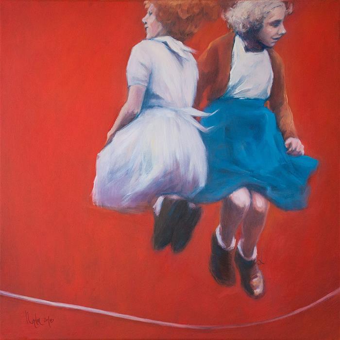 Original art for sale at UGallery.com | Blue Skirt by Nata Zaikina | $1,100 | oil painting | 24' h x 24' w | ..\art\oil-painting-Blue-Skirt-61547