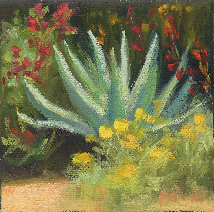 Original art for sale at UGallery.com | Agave with Wildflowers by SHERRI ALDAWOOD | $75 |  | 4' h x 4' w | ..\art\oil-painting-Agave-with-Wildflowers