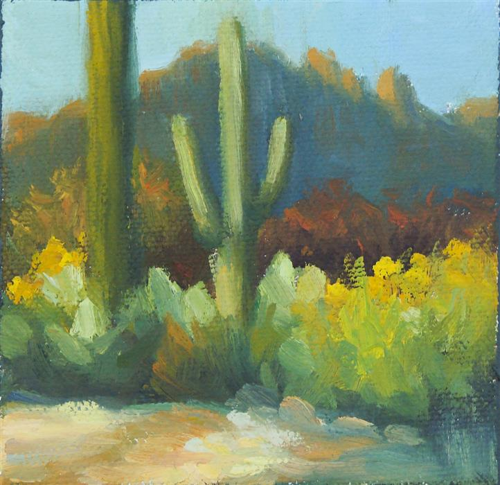 Original art for sale at UGallery.com | Tucson Afternoon by SHERRI ALDAWOOD | $75 |  | 4' h x 4' w | ..\art\oil-painting-Tucson-Afternoon