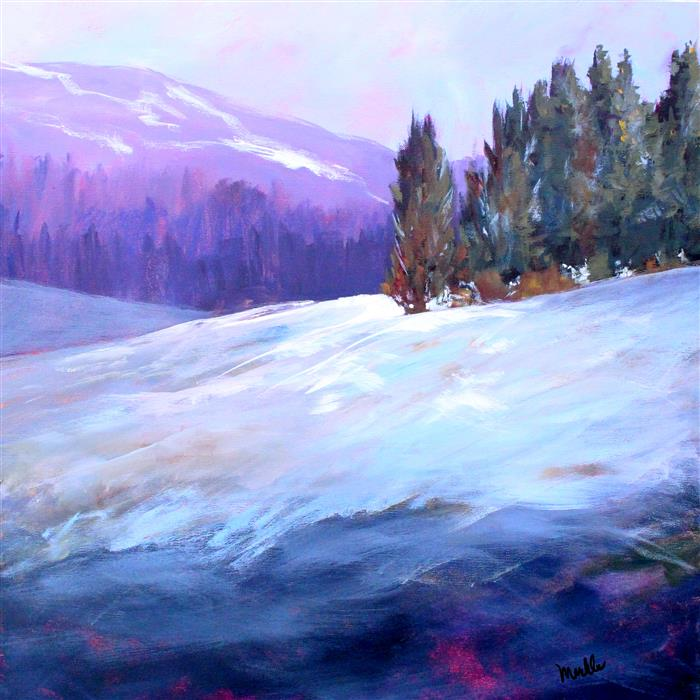 Original art for sale at UGallery.com | Winter Scene by NANCY MERKLE | $1,175 |  | 24' h x 24' w | ..\art\acrylic-painting-Winter-Scene
