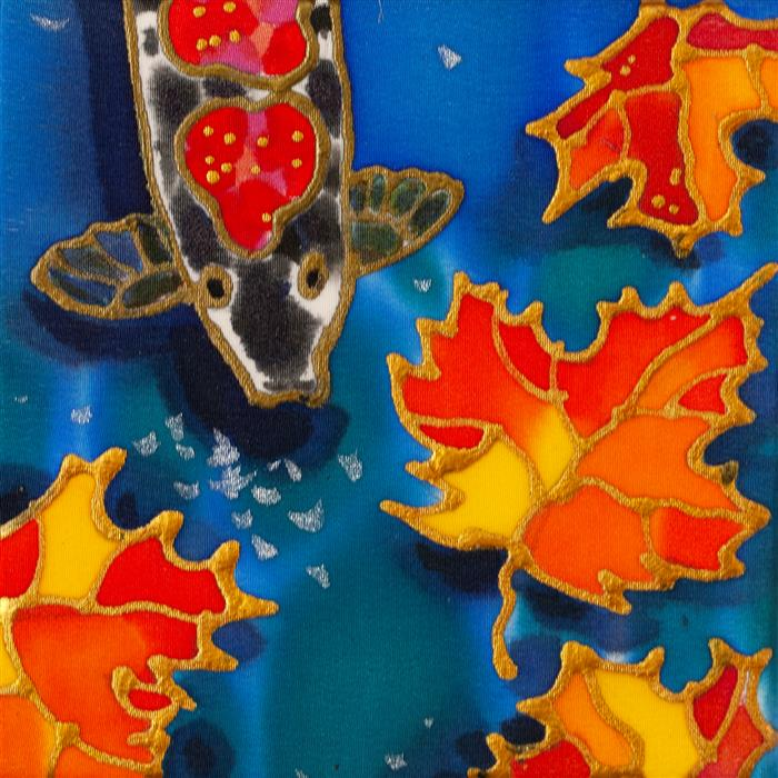 Original art for sale at UGallery.com | Autumn Pond by Yelena Sidorova | $75 | mixed media artwork | 4' h x 4' w | ..\art\mixed-media-artwork-Autumn-Pond