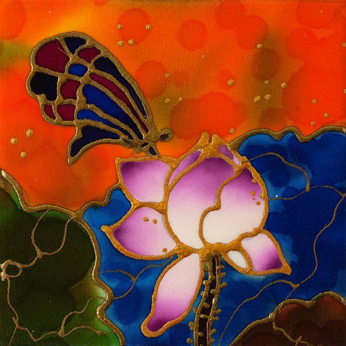 Original art for sale at UGallery.com | Pink Lotus 2 by Yelena Sidorova | $75 | mixed media artwork | 4' h x 4' w | ..\art\mixed-media-artwork-Pink-Lotus-2