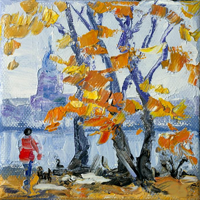 Original art for sale at UGallery.com | Autumn Time by Stanislav Sidorov | $75 | oil painting | 4' h x 4' w | ..\art\oil-painting-Autumn-Time