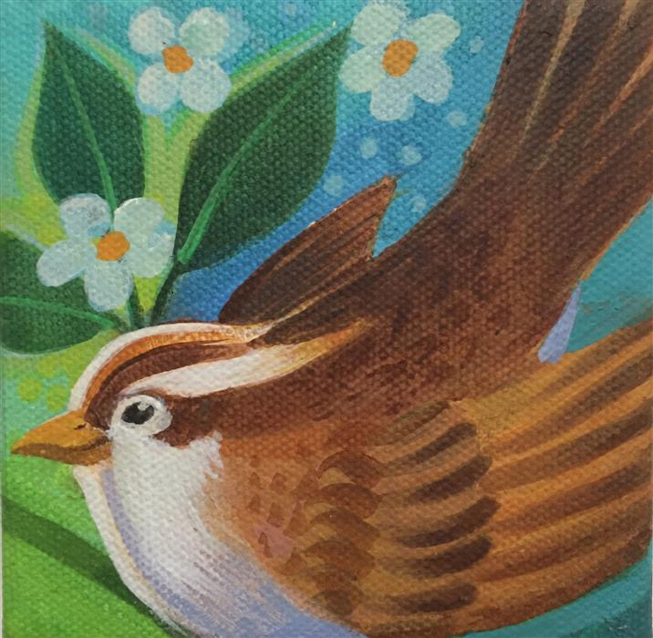 Original art for sale at UGallery.com | Sparrow by JOHNNY KARWAN | $75 |  | 4' h x 4' w | ..\art\acrylic-painting-Sparrow