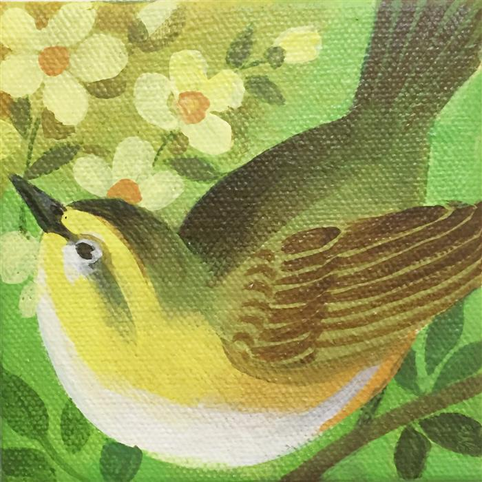 Original art for sale at UGallery.com | Warbler by JOHNNY KARWAN | $75 |  | 4' h x 4' w | ..\art\acrylic-painting-Warbler