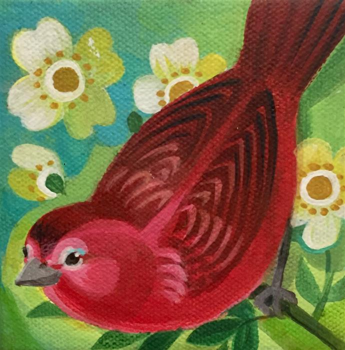 Original art for sale at UGallery.com | Tanager by JOHNNY KARWAN | $75 |  | 4' h x 4' w | ..\art\acrylic-painting-Tanager