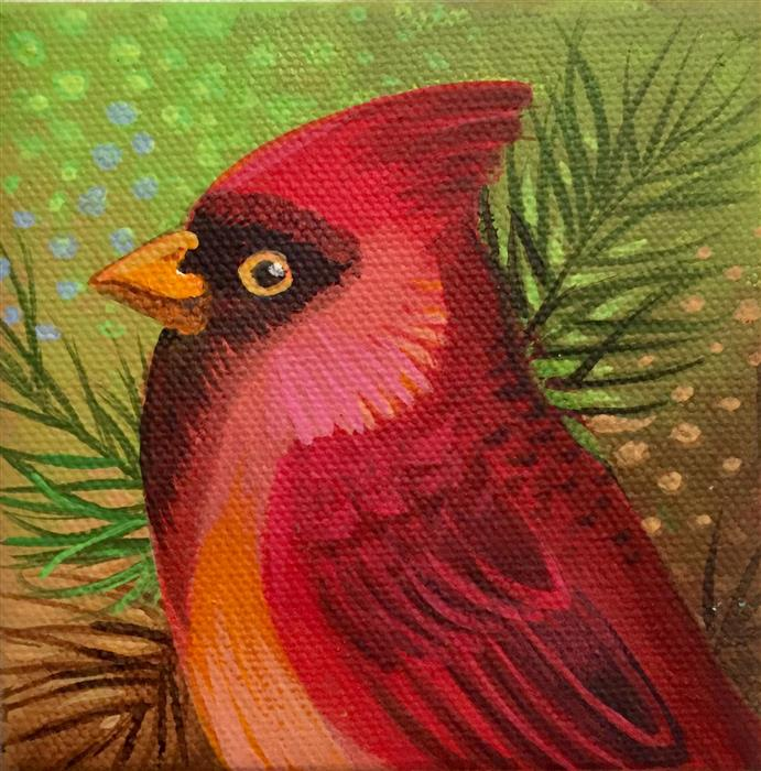 Original art for sale at UGallery.com | Cardinal by JOHNNY KARWAN | $75 |  | 4' h x 4' w | ..\art\acrylic-painting-Cardinal-61602