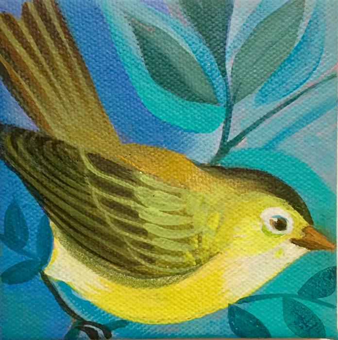Original art for sale at UGallery.com | Warbler 2 by JOHNNY KARWAN | $75 |  | 4' h x 4' w | ..\art\acrylic-painting-Warbler-2
