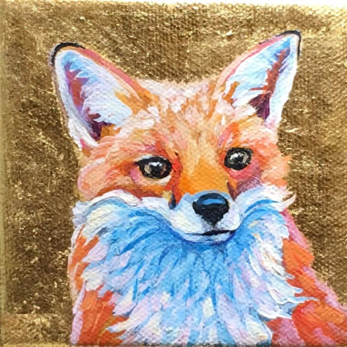 Original art for sale at UGallery.com | Red Fox Curious by Pandalana Williams | $75 | mixed media artwork | 4' h x 4' w | ..\art\mixed-media-artwork-Red-Fox-Curious