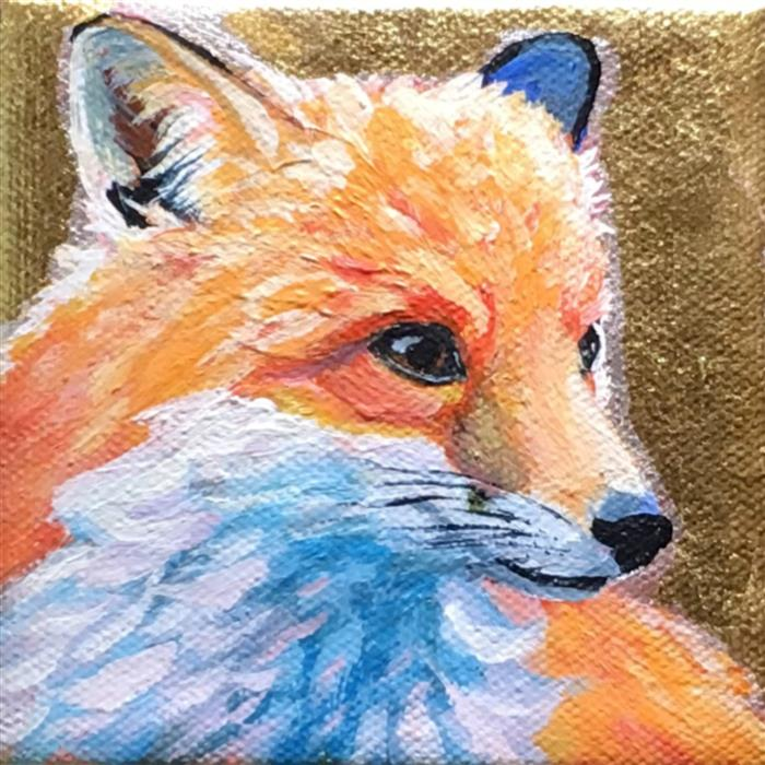 Original art for sale at UGallery.com | Red Fox Foxy by PANDALANA WILLIAMS | $75 |  | 4' h x 4' w | ..\art\mixed-media-artwork-Red-Fox-Foxy