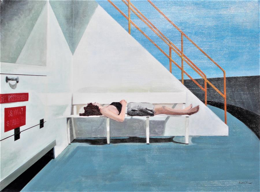 Original art for sale at UGallery.com | The Ferry Sleeper by Benjamin  Thomas | $1,550 | acrylic painting | 24' h x 32' w | ..\art\acrylic-painting-The-Ferry-Sleeper