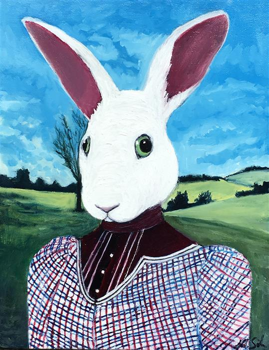 Original art for sale at UGallery.com | Portrait of Lady Rabbit by Kat Silver | $825 | oil painting | 11' h x 14' w | ..\art\oil-painting-Portrait-of-Lady-Rabbit