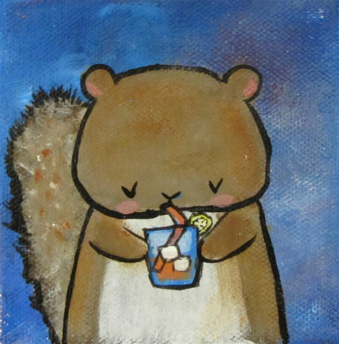 Original art for sale at UGallery.com | Tea with a Squirrel by ANDREA DOSS | $75 |  | 4' h x 4' w | ..\art\acrylic-painting-Tea-with-a-Squirrel