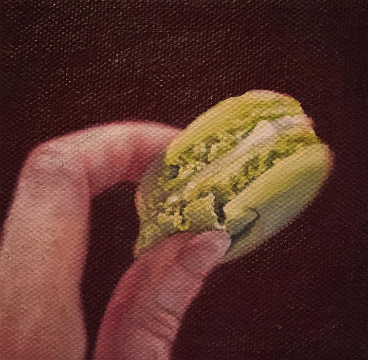 Original art for sale at UGallery.com | Finger Foods: Macaron by Shaina Craft | $75 | oil painting | 4' h x 4' w | ..\art\oil-painting-Finger-Foods-Macaron