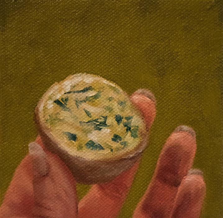 Original art for sale at UGallery.com | Finger Foods: Quiche by Shaina Craft | $75 | oil painting | 4' h x 4' w | ..\art\oil-painting-Finger-Foods-Quiche