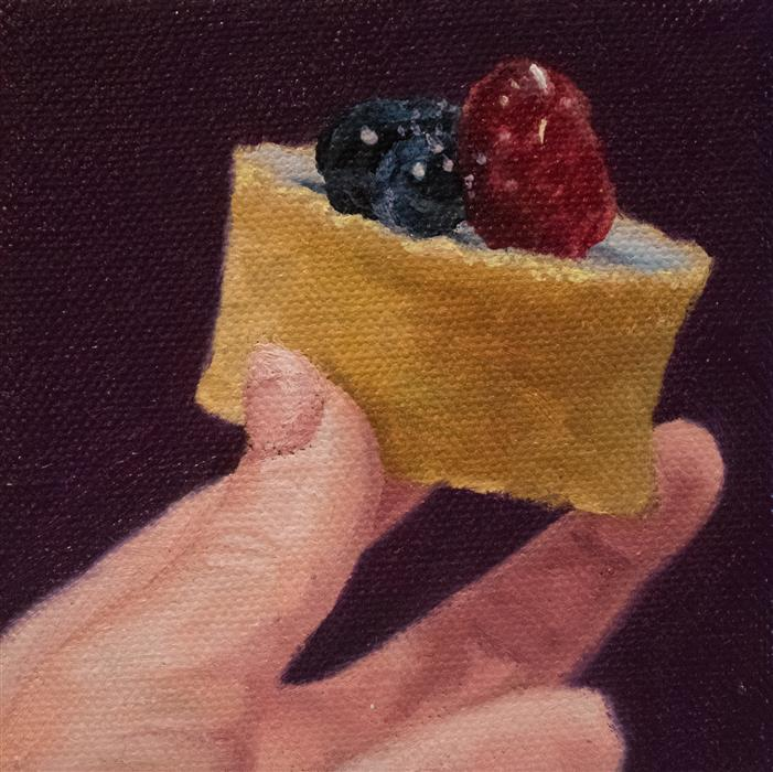 Original art for sale at UGallery.com | Finger Foods: Tart by SHAINA CRAFT | $75 |  | 4' h x 4' w | ..\art\oil-painting-Finger-Foods-Tart
