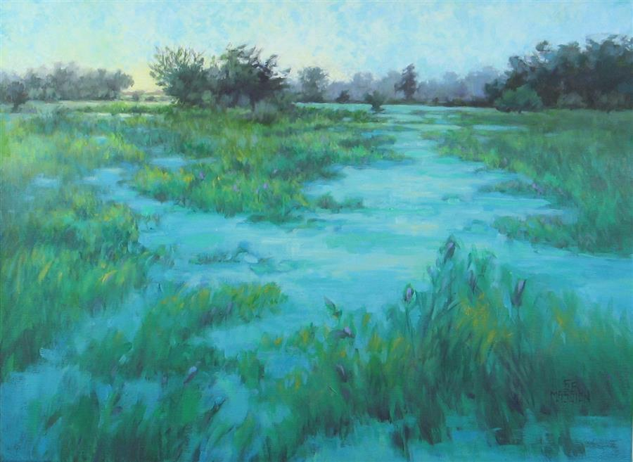 Original art for sale at UGallery.com | Water World High Noon by SUZANNE MASSION | $575 |  | 18' h x 24' w | ..\art\oil-painting-Water-World-High-Noon