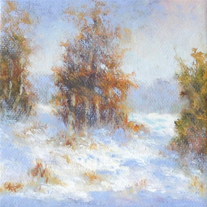 Original art for sale at UGallery.com | Change of Seasons by Gail Greene | $75 | oil painting | 4' h x 4' w | ..\art\oil-painting-Change-of-Seasons