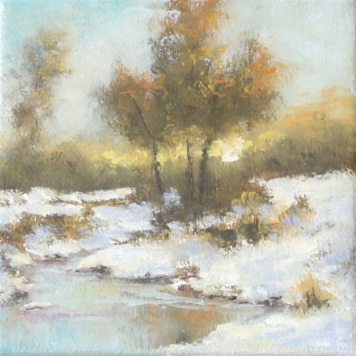 Original art for sale at UGallery.com | Winter Sunset by Gail Greene | $75 | oil painting | 4' h x 4' w | ..\art\oil-painting-Winter-Sunset-61742