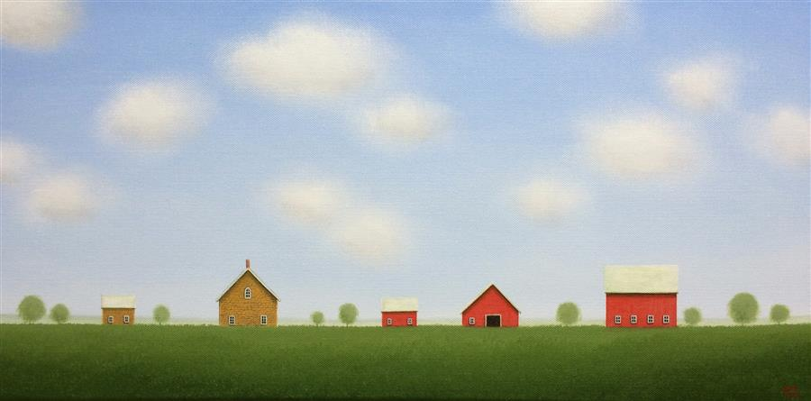 Original art for sale at UGallery.com | Stone House Farm by SHARON  FRANCE | $1,000 |  | 12' h x 24' w | ..\art\acrylic-painting-Stone-House-Farm
