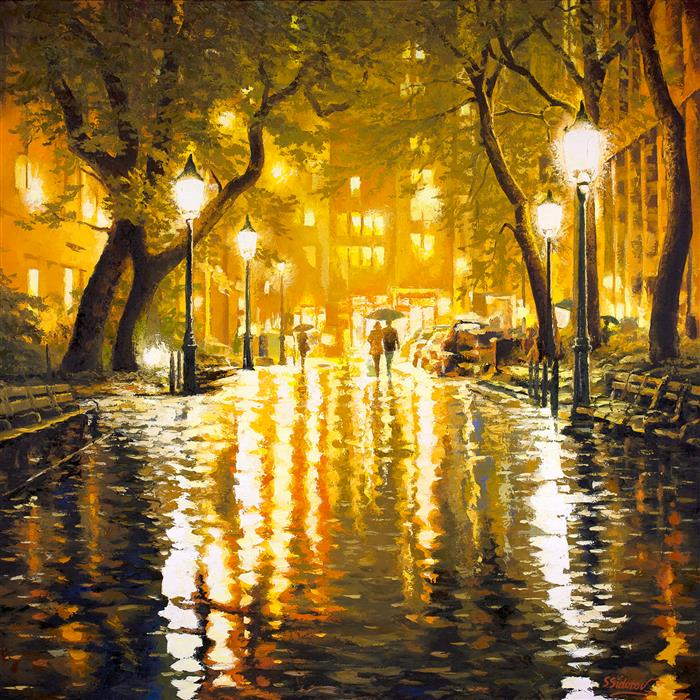 Original art for sale at UGallery.com | Through The Light. Central Park, New York. by Stanislav Sidorov | $4,175 | oil painting | 40' h x 40' w | ..\art\oil-painting-Through-The-Light-Central-Park-New-York