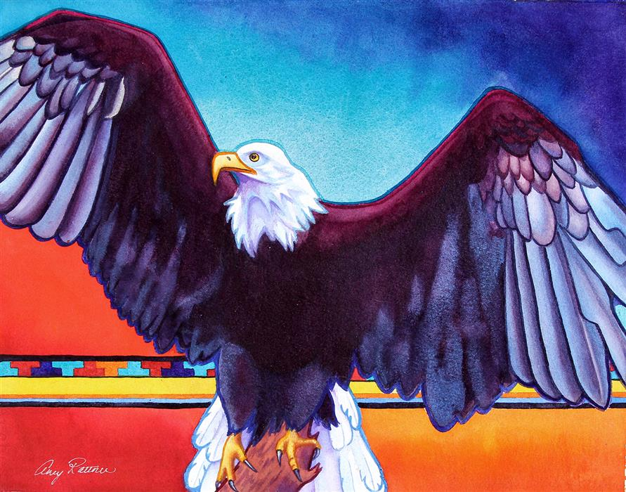 Original art for sale at UGallery.com | Freedom for All by AMY RATTNER | $725 |  | 15' h x 20' w | ..\art\watercolor-painting-Freedom-for-All