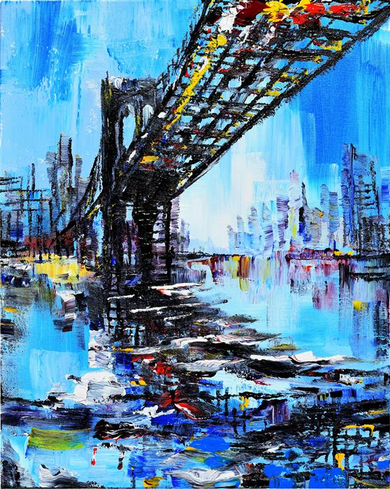 Original art for sale at UGallery.com | Tall Bridge by PIERO MANRIQUE | $1,025 |  | 30' h x 24' w | ..\art\acrylic-painting-Tall-Bridge