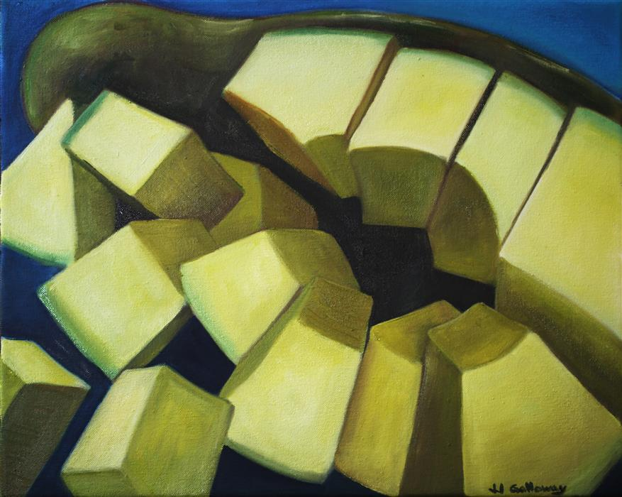 Original art for sale at UGallery.com | Avocado Slices by JJ GALLOWAY | $575 |  | 16' h x 20' w | ..\art\oil-painting-Avocado-Slices