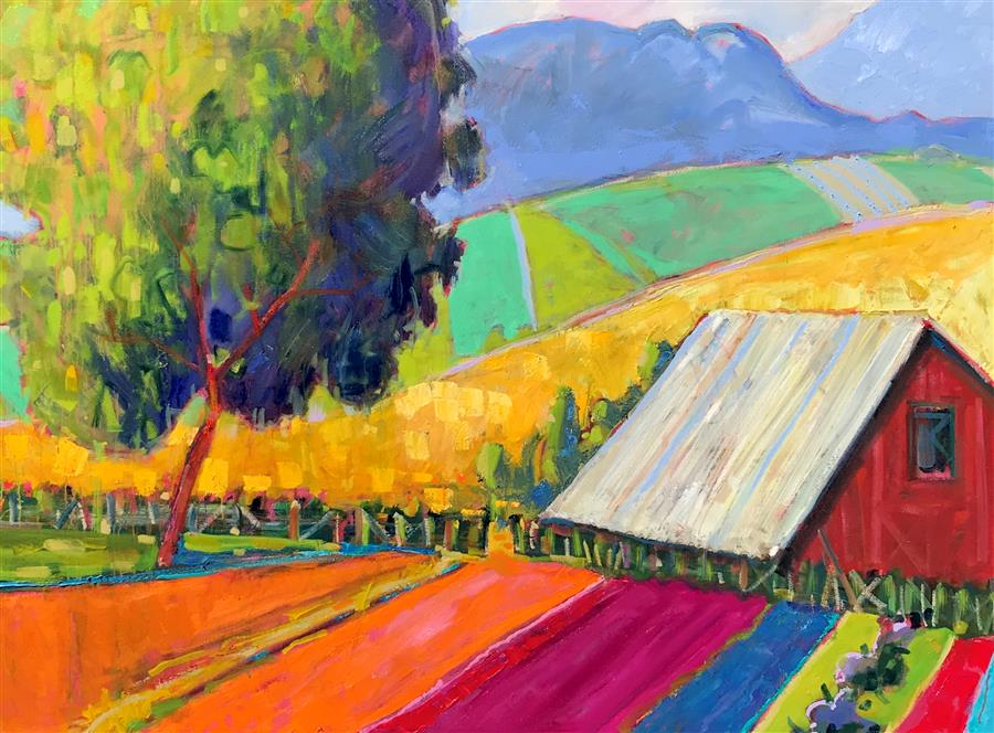 Original art for sale at UGallery.com | A Small Farm by James Hartman | $7,300 | oil painting | 48' h x 65' w | ..\art\oil-painting-A-Small-Farm