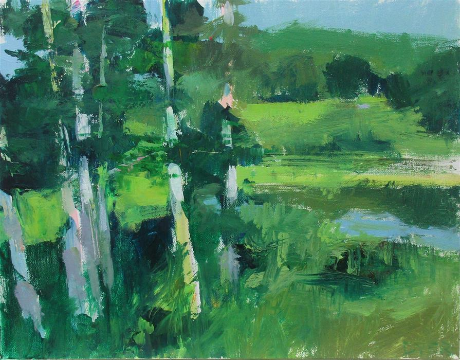 Original art for sale at UGallery.com | Swan Pond, Vermont by Janet Dyer | $625 | acrylic painting | 14' h x 18' w | ..\art\acrylic-painting-Swan-Pond-Vermont