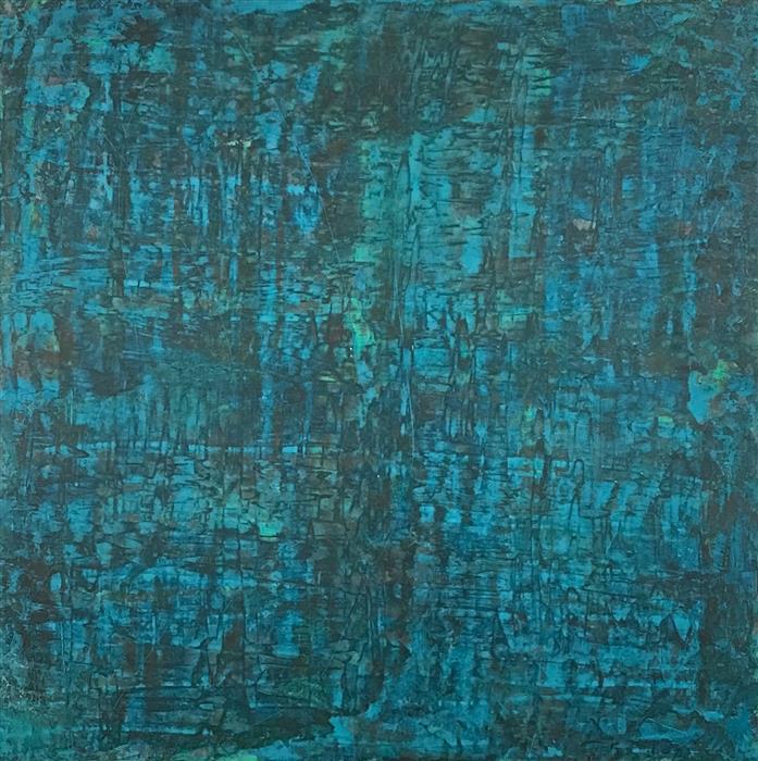 Original art for sale at UGallery.com | Oceania by Quin de la Mer | $2,000 | mixed media artwork | 36' h x 36' w | ..\art\mixed-media-artwork-Oceania