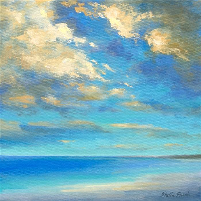 Original art for sale at UGallery.com | Coastal Light Show by Sheila Finch | $875 | oil painting | 10' h x 10' w | ..\art\oil-painting-Coastal-Light-Show