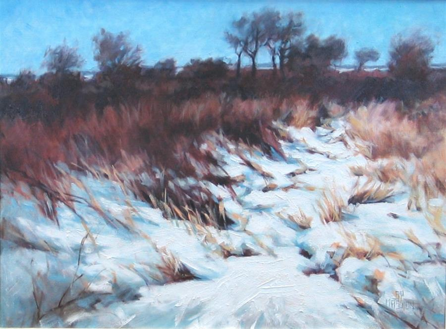 Original art for sale at UGallery.com | Frozen Sanctuary by Suzanne Massion | $625 | oil painting | 24' h x 30' w | ..\art\oil-painting-Frozen-Sanctuary