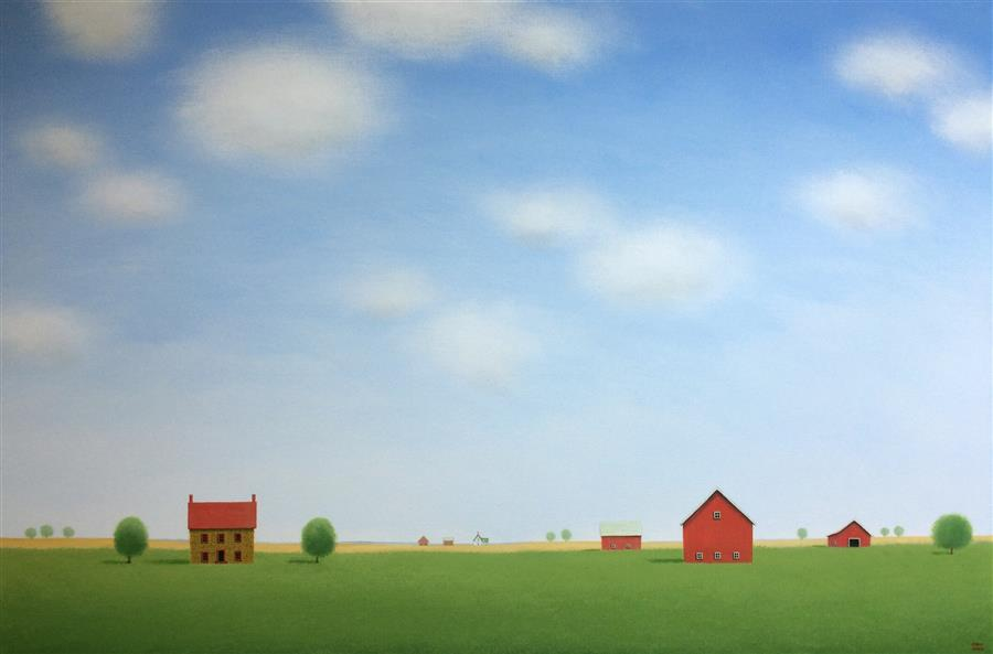 Original art for sale at UGallery.com | The Quiet of the Farm by SHARON  FRANCE | $2,100 |  | 24' h x 36' w | ..\art\acrylic-painting-The-Quiet-of-the-Farm