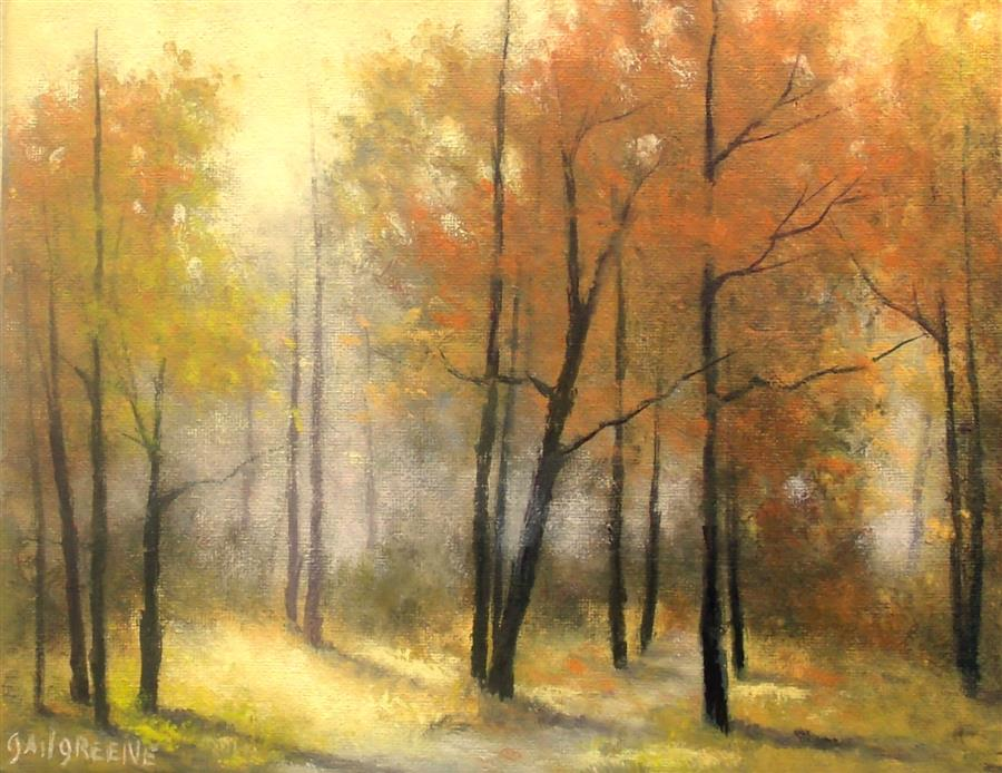 Original art for sale at UGallery.com | Autumn Path by GAIL GREENE | $300 |  | 8' h x 10' w | ..\art\oil-painting-Autumn-Path-61903